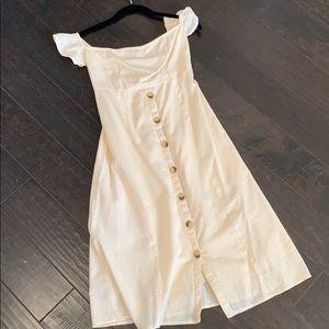 Linen off the shoulder dress